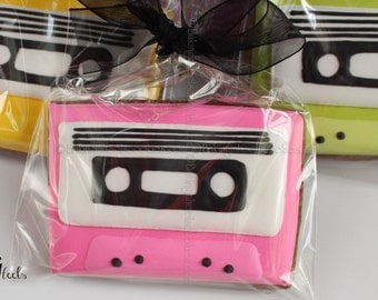 80's Cassette Tape Birthday Cookies, Neon Cassette Tapes, 1980's Party Favors, 1 Dozen Cookies, Cookie Favors, Custom Sugar Cookies