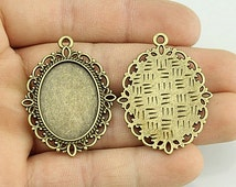 13x18mm Antique Bronze Oval Lace Edge Cameo Cabochon - Base Setting - Cabochon Setting Pendant - Blank Bezel Setting Trays Finding DT002