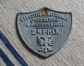 Petite Vintage French Aviculture Competition Plaque