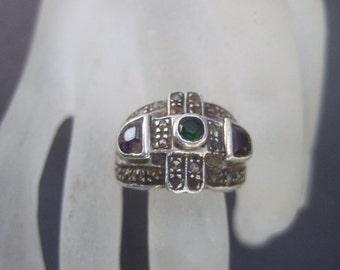 Sterling Semi Precious Artisan Ring  Size 7.5
