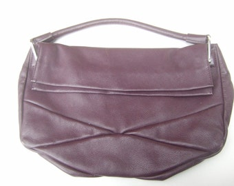 Barney's New York Plum Leather Handbag