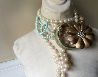 Holiday Christmas Ornament Signature Mint Gold Flower Bangle Pearl Wedding Statement Necklace Jewelry by ZILLAS QUEEN