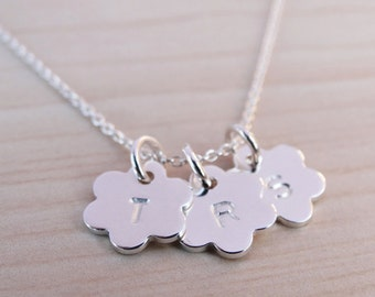 Tiny Silver Flower Necklace With Initial - Sterling Silver