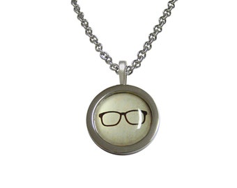 Bordered Hipster Glasses Pendant Necklace