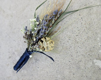Natural Dried Boutonniere - Wild River Boutonniere - Lavender, Cones, Baby's Breath, Wheat or Ornamental Grasses