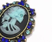 Sale, Skeleton Cameo Necklace, Black and Blue Gothic Lolita Pendant with Chain