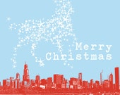 50 Christmas Cards - Chicago Skyline with Reindeer