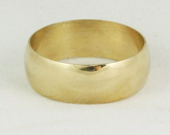 8mm Wide Gold Wedding Band - Cigar Ring - Mens Womens Unisex - 14k 18k 22k - 8.75 - 13