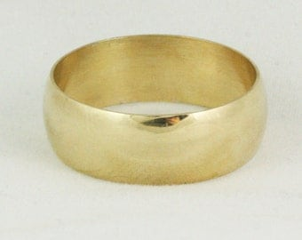 8mm Wide Wedding Ring - Half Round Cigar Band - Mens Womens Unisex - 14k 18k 22k - 5 - 8.5