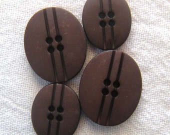 5 Dark Coffee Bean Brown Oval Buttons,20 mm or 25mm,Matte Finish, Bittersweet Chocolate Brown,Plastic, 4 Hole, Dill Brand Buttons, Germany