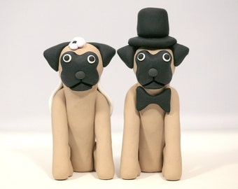 Pug Dog Wedding Cake Topper