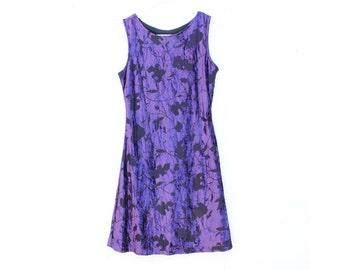90s Velvet Burnout Grunge Minimal High Neck Bandage / Bodycon A-Line Mini Dress