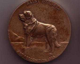 Large Bronze 65 mm St. Bernard Dog Medal from Westminster Kennel Foundation Dogs Exonumia