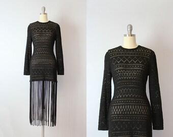vintage 80s fringed dress / 1980s fringed knit dress / black fringe dress / witchy black dress / dramatic dress / Spell Caster dress