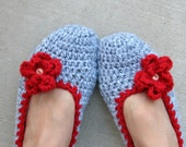Crochet Women Slippers - Adult Crochet Slippers in Lignt Grey with Red Flower, Home Shoes, Crochet Women Slippers