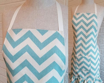 Teal Chevron Apron with Pocket and Ruffle, Free Shipping - Can be Personalized
