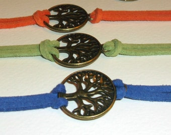 bronze Tree of life suede bracelet, pick your color