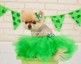 shamrock green dog tutu cute fluffy puppy skirt halloween costume fur baby pet birthday xxs