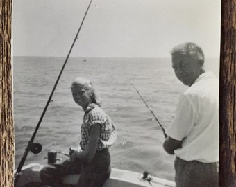 Original Vintage Photograph Fishing off the Boat with Grandpa