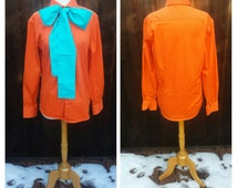 Upcycled Steampunk Clothing, Joker Shirt and Bow Tie Vintage Orange Cotton Button-up Shirt and Handmade Turquoise Cotton Bow Tie Size 15 1/2