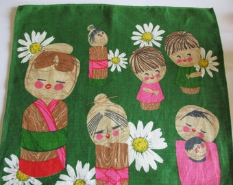 Lovely Vintage Linen Printed Dish Towel with Japanese Dolls Kokeshi, Instant Retro Asian Home Decor, Wall Hanging