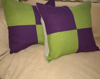 "Checked Pillow Cover Green - Purple - Light Grey Colored Natural Linen 20""x20""Set of 2 Washed"