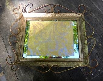 Brass Vanity Tray, Mirror Tray, Ornate Dresser Tray, Gold Tray, Regency, Hollywood Regency, Footed Vanity Tray, Perfume Tray, Dresser Decor