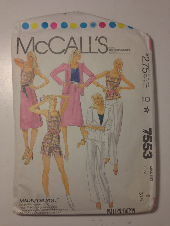 McCalls Sewing Pattern 7553 80s UNCUT Misses Jacket, Top, Skirt, Pants or Shorts Size 8