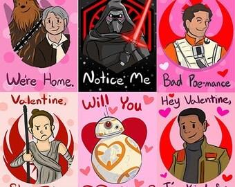 Set of 6 Galactic Valentines