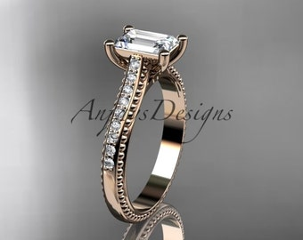 14kt rose gold diamond unique engagement ring,wedding ring ADER113
