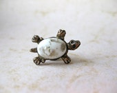 Turtle Tack Pin with White and Gold Cabochon Wedding Gift Tie Accessory For Him fashion Groom Small