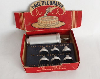 Vtg Aluminum Cake Decorator Set Lorraine Novelty Original Box Woolworth's Tag