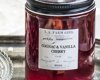 Cognac & Vanilla Cherry Jam - L.A. FARM GIRL Jams and Jellies For Rustic Farm Barn Cottage Chic Ranch Boho Favors