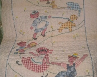 SPECTACULAR Vintage Cross Stitched Quilted Baby Blanket, Baby Girl, Pink Quilt, Baby Crib Quilt,Baby Gift, Pink Baby Quilt