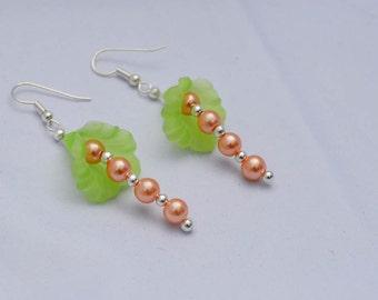 Bell Flower Drop Earrings Green and Orange Beaded Earrings Summer Women's Jewelry Dangle Earrings
