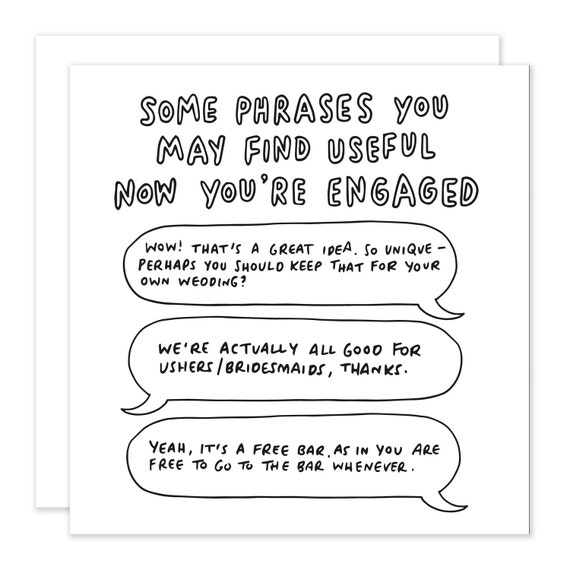 Useful Phrases Now You're Engaged Engagement Card