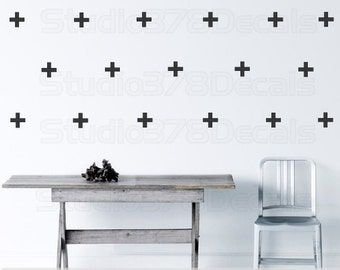 Plus Sign Wall Decals | Swiss Cross Wall Pattern | Plus Sign Wall Stickers | Trend Pattern Decor | Modern Office Wall Decor