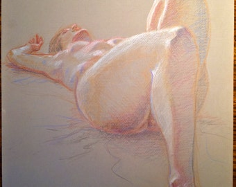 "Life Drawing: ""Nude Reclined"" - Original Work in Colored Pencil by Jeddin A. White"