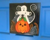 Halloween Wall Hanging, Spooky Ghost, Pumpkin, Spider, Halloween Plaque, Halloween Decor, Halloween Door Decor, Hand Painted, Wood Door Art
