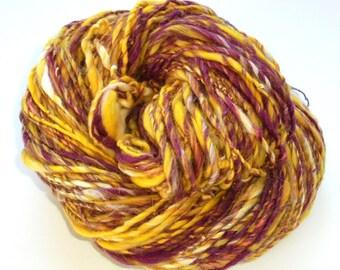 Handspun Yarn, CROCUSES IN SNOW, Worsted-Weight Yarn, Soft Handspun Yarn, Handspun Merino, Handspun Silk Yarn, Free Hat Knitting Pattern