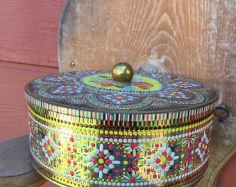 Vintage English Tin Container with Knob Handle