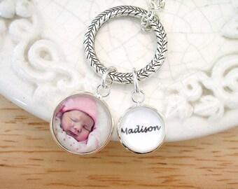 Photo Charm Necklace, Birthstone Jewelry Mom Gift for Wife Grandmom Jewelry Pet Memory Charm Multi Photo Necklace Photo Birthstone Charms