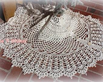 Christmas Tree Skirt Lace Crochet Pattern 60 inch Vintage Lace Doily Crochet Doily Rug
