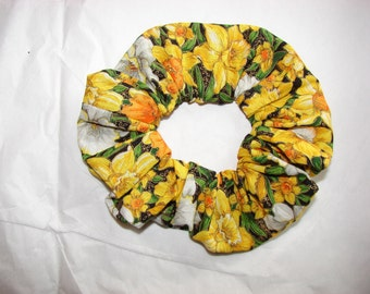 Yellow Daffodils floral design Handmade Fabric Hair Scrunchie, women's accessories, florals tulips, womans scrunchies, gifts for her