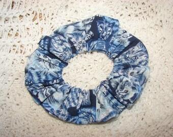 Blue Tabby Cats Felines handmade Fabric Hair Scrunchie, women's accessories, womans scrunchies, cat lover gift, feline fancy, girl gifts