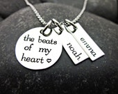 Mother's Necklace - The Beats of my Heart - Heartbeat - Hand Stamped - Mother's Gift - Personalized with Names - Heartbeat Necklace