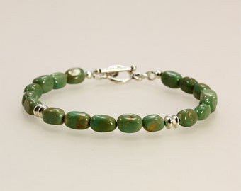 Ma'an Shan Turquoise Nugget Bracelet with Sterling Silver, Green Bracelet, Southwestern Bracelet, Turquoise Bracelet