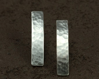 Hammered Silver Bar Earrings, Sterling Silver Earrings, Stick Earrings, Hammered Silver Earrings, Silver Bar Earrings