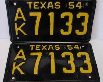 Texas License Plate Set 1954 Vintage Texas Plates Auto Plates Collectible Texas Plates Black and Yellow plates