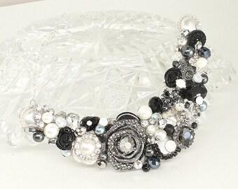 Black Bib Necklace- Black Statement Necklace- Brass Boheme- Black and Silver Necklace- Black Rhinestone Necklace- Charcoal Bib Necklace